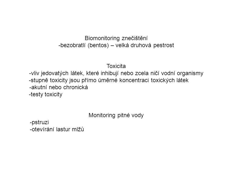 Biomonitoring znečištění -bezobratlí (bentos) – velká druhová pestrost Toxicita -vliv jedovatých látek, které inhibují nebo zcela ničí vodní organismy -stupně toxicity jsou přímo úměrné koncentraci toxických látek -akutní nebo chronická -testy toxicity Monitoring pitné vody -pstruzi -otevírání lastur mlžů