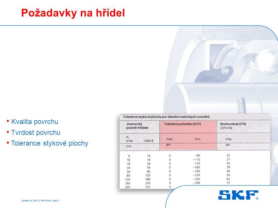 October 30, 2007 © SKF Group Slide 17 Požadavky na hřídel Jmenovitý průměr hřídele d 1 přes včetně mm Tolerance stykové plochy pro těsnění metrických