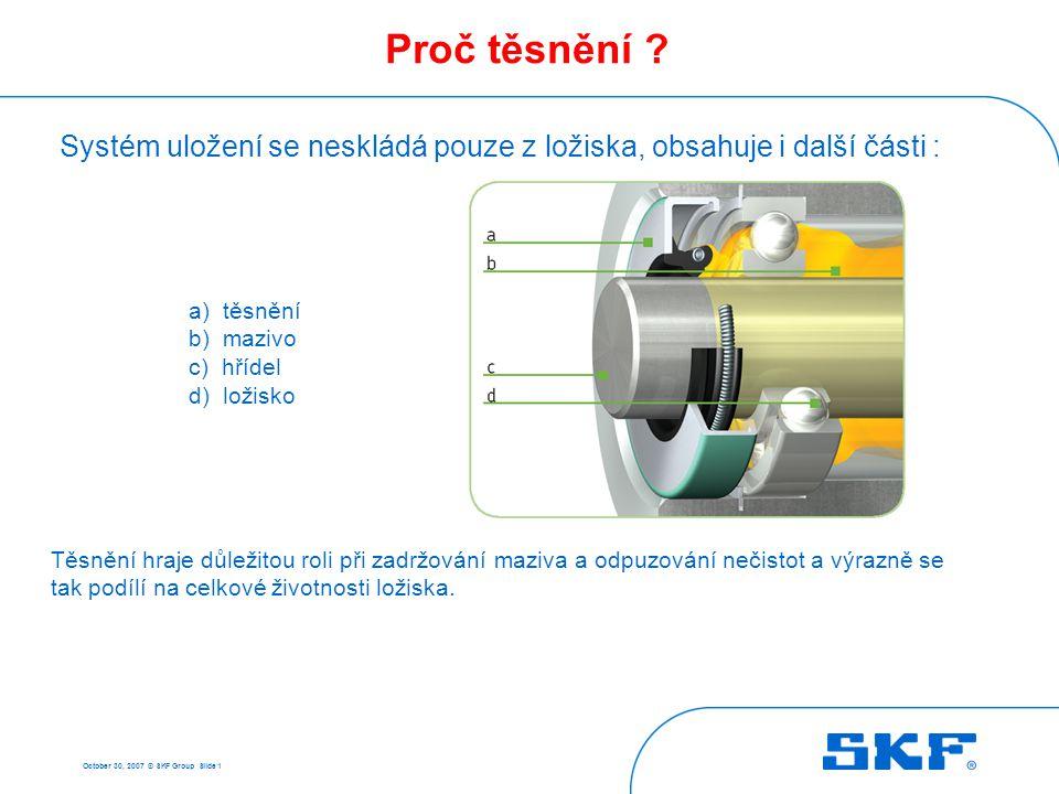October 30, 2007 © SKF Group Slide 1 Proč těsnění ? Systém uložení se neskládá pouze z ložiska, obsahuje i další části : Těsnění hraje důležitou roli