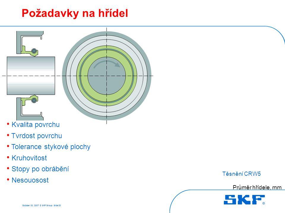 October 30, 2007 © SKF Group Slide 20 Požadavky na hřídel Průměr hřídele, mm Těsnění CRW5 Nesouosost, mm • Kvalita povrchu • Tvrdost povrchu • Toleran