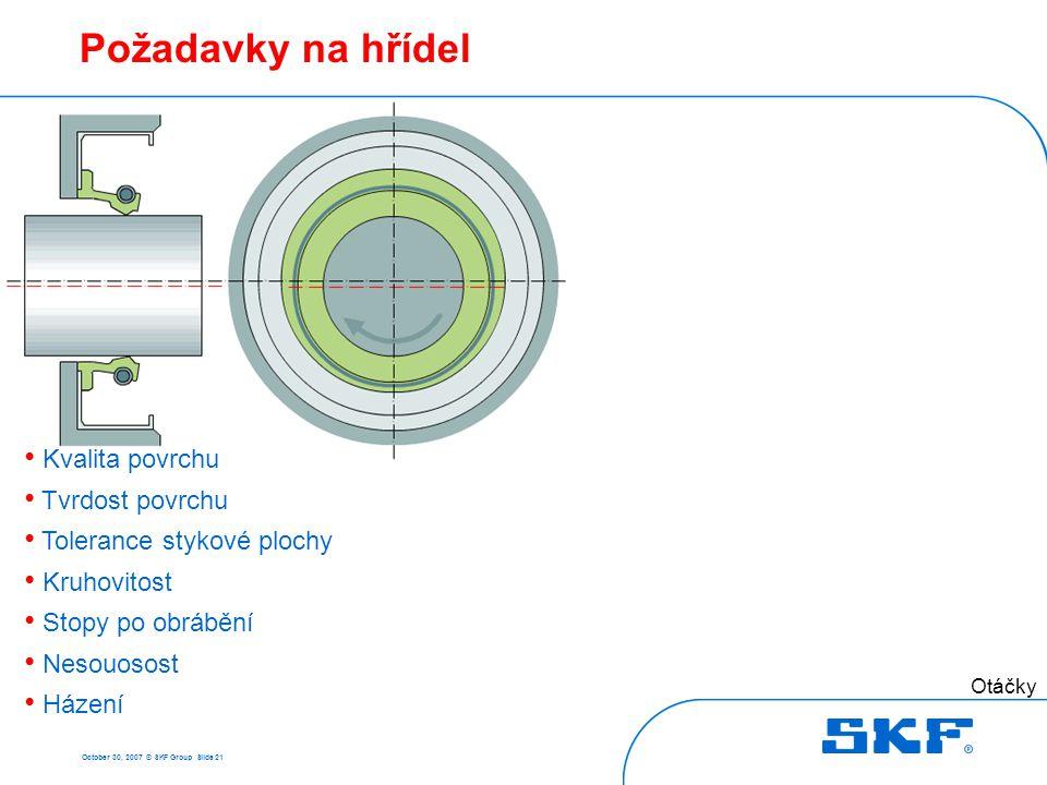 October 30, 2007 © SKF Group Slide 21 Požadavky na hřídel Otáčky Házení, mm • Kvalita povrchu • Tvrdost povrchu • Tolerance stykové plochy • Kruhovito