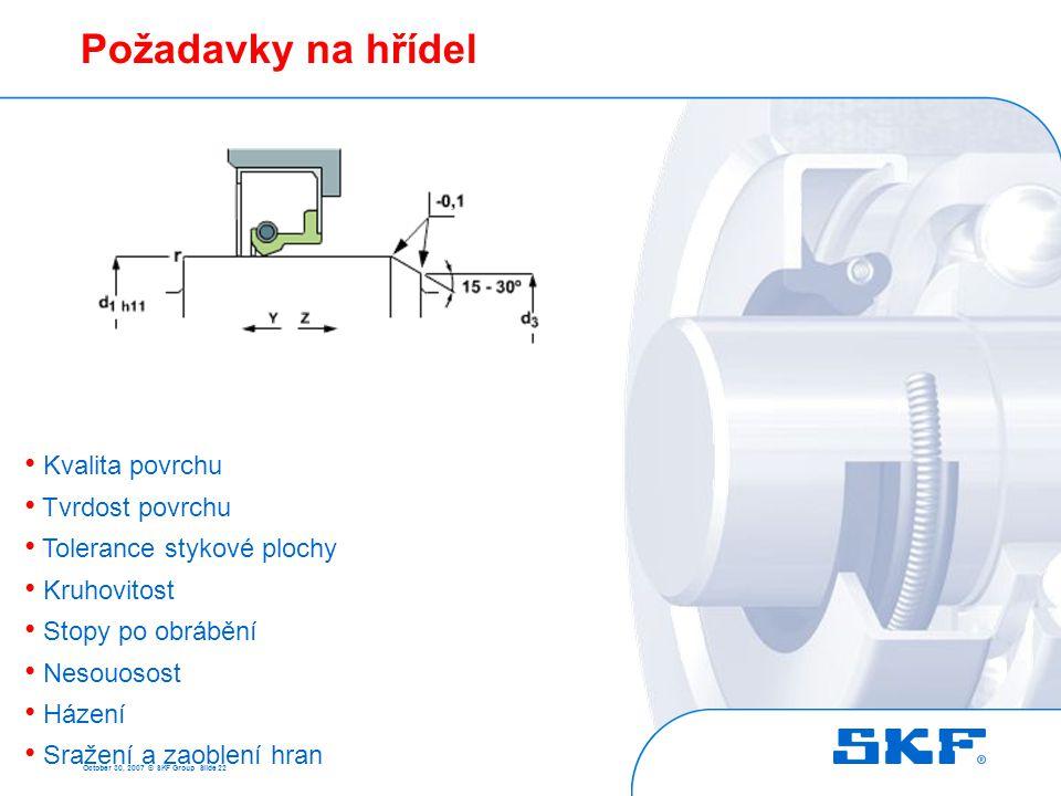 October 30, 2007 © SKF Group Slide 22 Požadavky na hřídel • Kvalita povrchu • Tvrdost povrchu • Tolerance stykové plochy • Kruhovitost • Stopy po obrá
