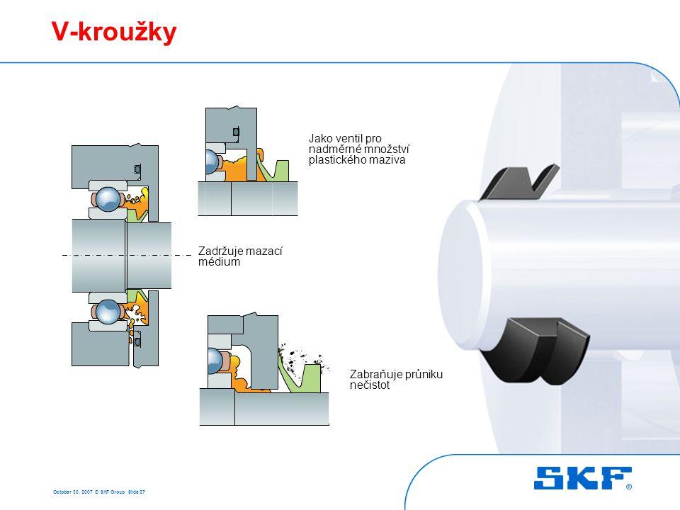 October 30, 2007 © SKF Group Slide 27 V-kroužky Jako ventil pro nadměrné množství plastického maziva Zabraňuje průniku nečistot Zadržuje mazací médium