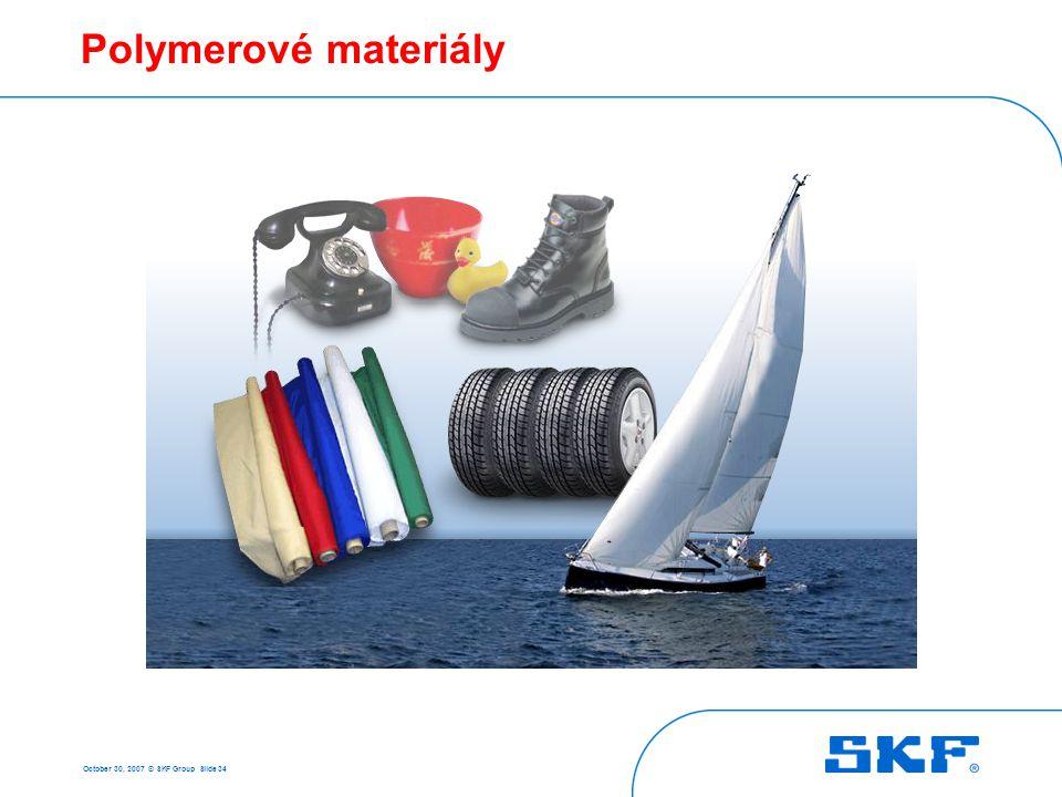 October 30, 2007 © SKF Group Slide 34 Polymerové materiály