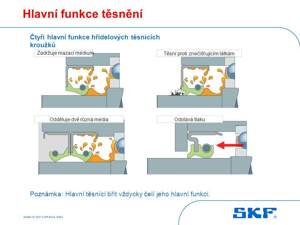 October 30, 2007 © SKF Group Slide 15 Požadavky na hřídel Doporučené hodnoty drsnosti R z a R p : R z : 1 až 4  m (ISO, DIN) R z : 1,65 až 2,9  m (RMA) R pmax : 0,5 až 1,25  m (RMA) Doporučené hodnoty drsnosti Ra: - 0,2 až 0,8  m • Kvalita povrchu – R a – R z – R pmax