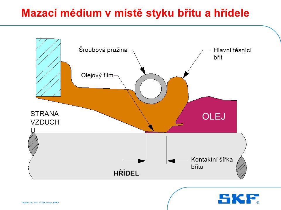 October 30, 2007 © SKF Group Slide 26 V-kroužky Statická těsněnící funkce Dynamická těsněnící funkce Hřídelové těsnění Sekundární těsnění