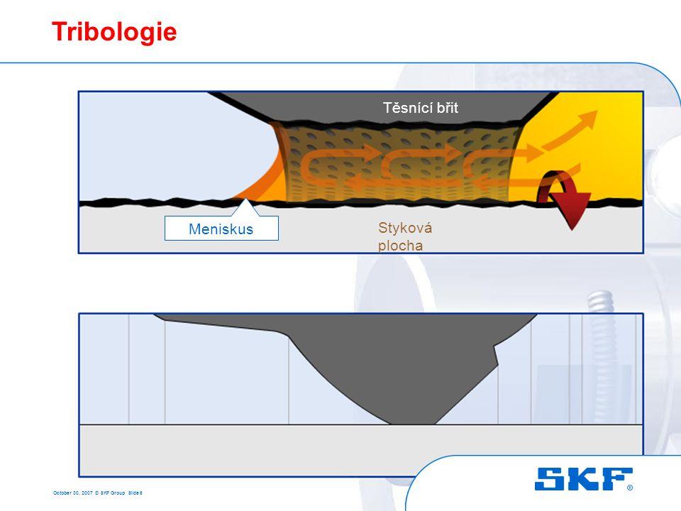 October 30, 2007 © SKF Group Slide 17 Požadavky na hřídel Jmenovitý průměr hřídele d 1 přes včetně mm Tolerance stykové plochy pro těsnění metrických rozměrů Tolerance průměru (h11) max.