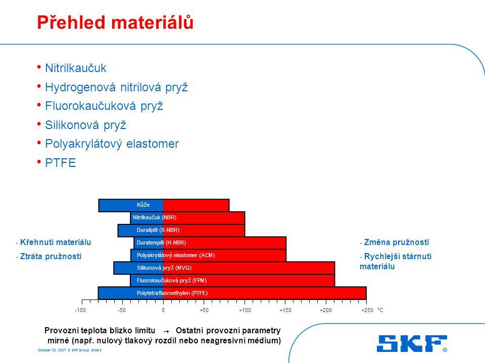October 30, 2007 © SKF Group Slide 9 Nitrilkaučuk NBR (ISO, ASTM, DIN) R (SKF/CR) Výhody: • Celkově dobré vlastnosti • Dobrá odolnost proti opotřebení a roztržení • Malá deformace v tlaku • Dobrá odolnost proti olejům a plastickým mazivům • Cenově přijatelný Nevýhody: • Omezená odolnost vůči teplotě • Omezená odolnost vůči stárnutí