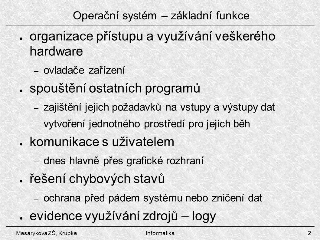 2 Masarykova ZŠ, KrupkaInformatika Operační systém – základní funkce ● organizace přístupu a využívání veškerého hardware – ovladače zařízení ● spoušt
