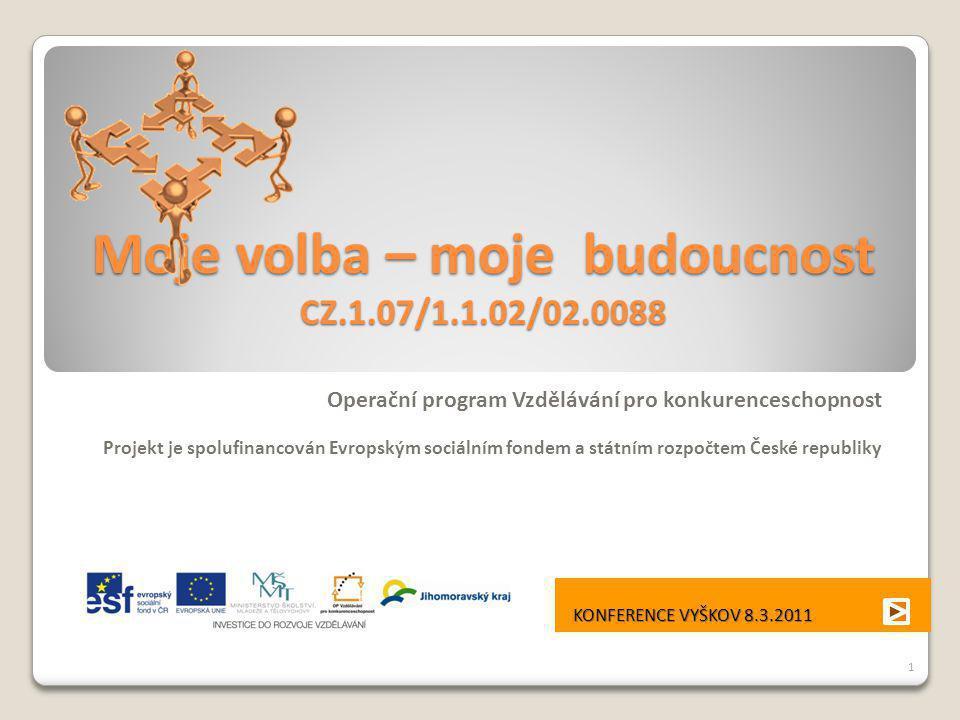 Moje volba – moje budoucnost CZ.1.07/1.1.02/02.0088 Operační program Vzdělávání pro konkurenceschopnost Projekt je spolufinancován Evropským sociálním