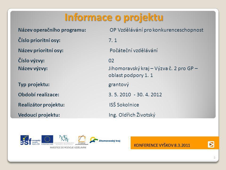 Informace o projektu Název operačního programu: OP Vzdělávání pro konkurenceschopnost Číslo prioritní osy: 7. 1 Název prioritní osy: Počáteční vzděláv
