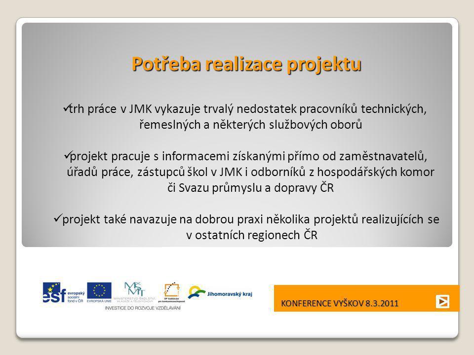 KONFERENCE VYŠKOV 8.3.2011 KONFERENCE VYŠKOV 8.3.2011 Potřeba realizace projektu  trh práce v JMK vykazuje trvalý nedostatek pracovníků technických,