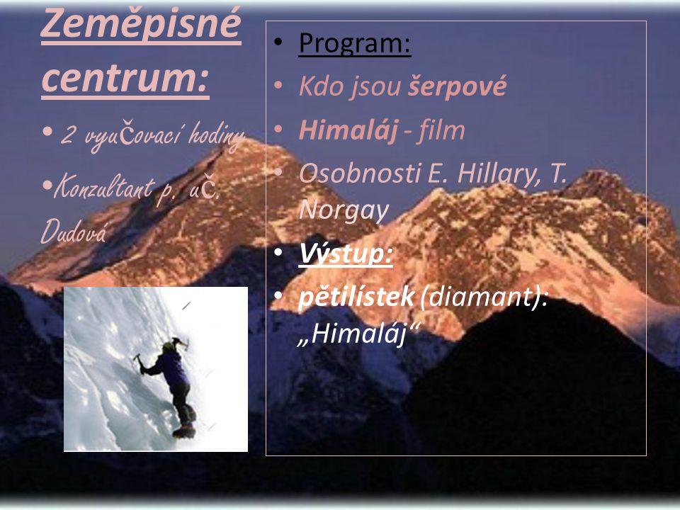 """Zeměpisné centrum: • Program: • Kdo jsou šerpové • Himaláj - film • Osobnosti E. Hillary, T. Norgay • Výstup: • pětilístek (diamant): """"Himaláj"""" • 2 vy"""