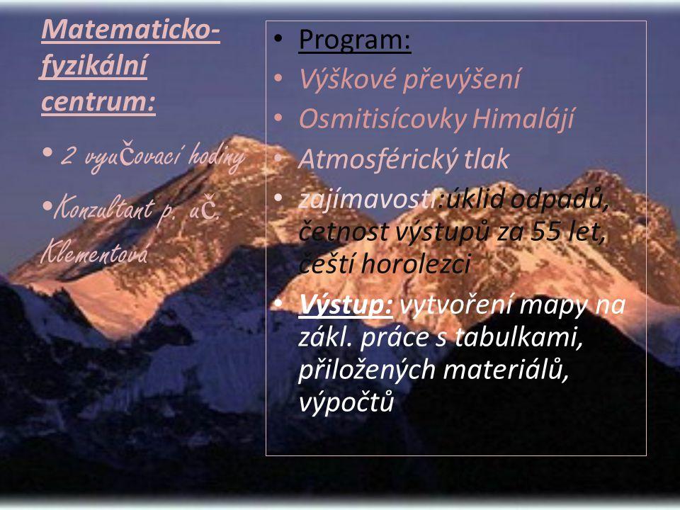 Matematicko- fyzikální centrum: • Program: • Výškové převýšení • Osmitisícovky Himalájí • Atmosférický tlak • zajímavosti:úklid odpadů, četnost výstupů za 55 let, čeští horolezci • Výstup: vytvoření mapy na zákl.