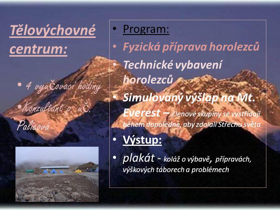 Tělovýchovné centrum: • Program: • Fyzická příprava horolezců • Technické vybavení horolezců • Simulovaný výšlap na Mt.