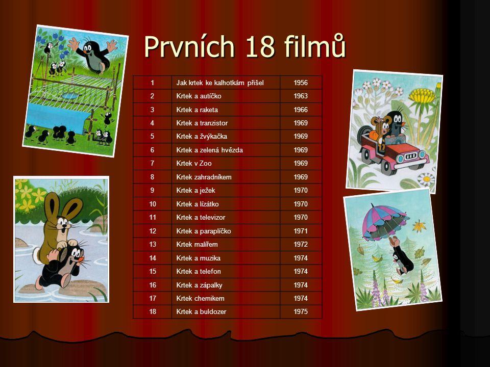 Prvních 18 filmů 1Jak krtek ke kalhotkám přišel1956 2Krtek a autíčko1963 3Krtek a raketa1966 4Krtek a tranzistor1969 5Krtek a žvýkačka1969 6Krtek a ze