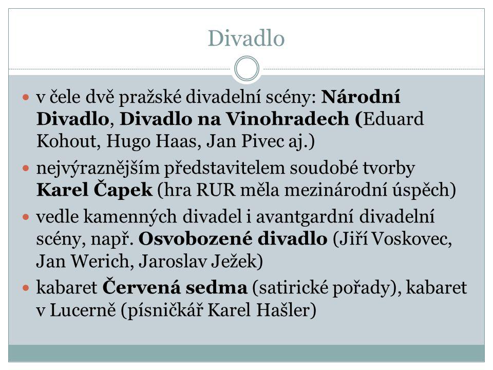Divadlo  v čele dvě pražské divadelní scény: Národní Divadlo, Divadlo na Vinohradech (Eduard Kohout, Hugo Haas, Jan Pivec aj.)  nejvýraznějším předs