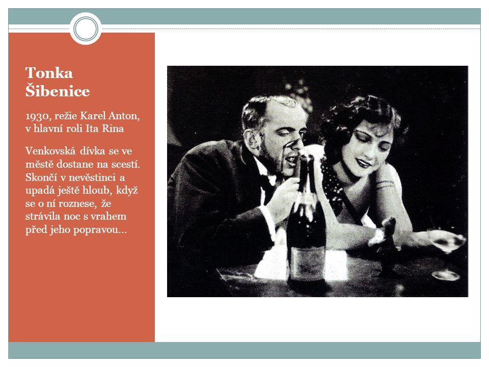 Tonka Šibenice 1930, režie Karel Anton, v hlavní roli Ita Rina Venkovská dívka se ve městě dostane na scestí. Skončí v nevěstinci a upadá ještě hloub,