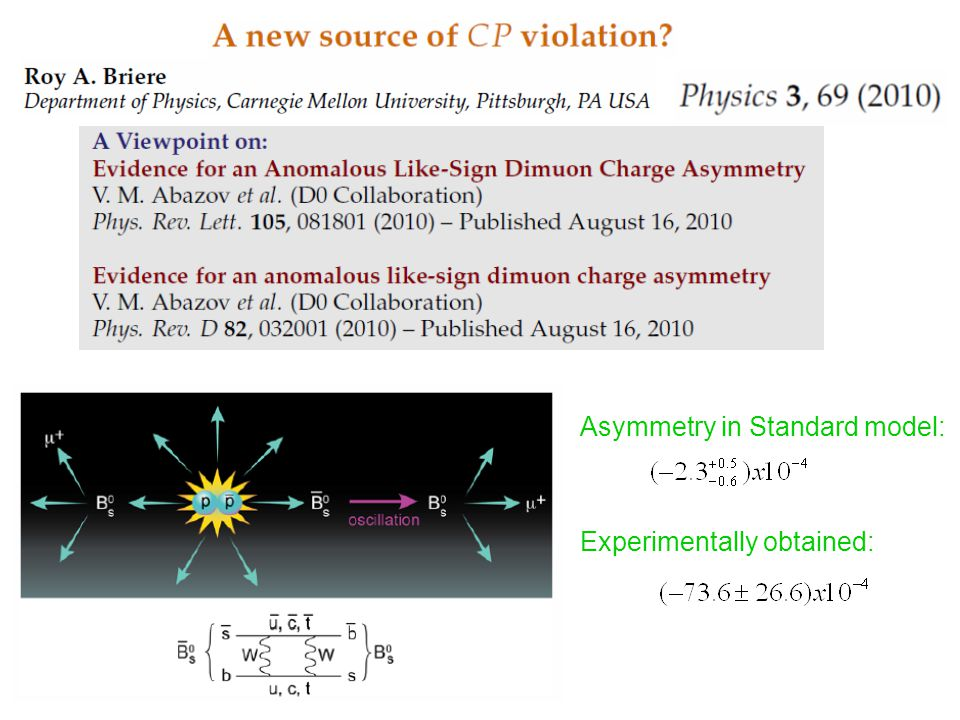 Asymmetry in Standard model: Experimentally obtained: