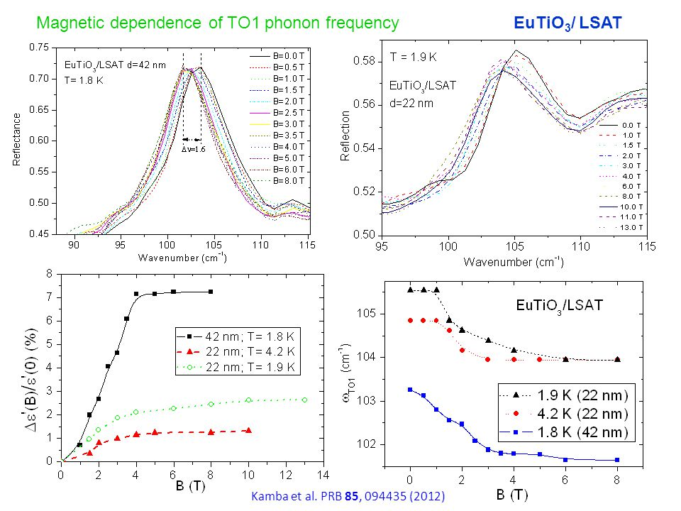 Magnetic dependence of TO1 phonon frequencyEuTiO 3 / LSAT Kamba et al. PRB 85, 094435 (2012)