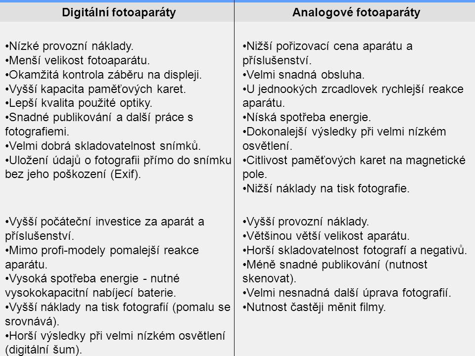 Digitální fotoaparátyAnalogové fotoaparáty •Nízké provozní náklady. •Menší velikost fotoaparátu. •Okamžitá kontrola záběru na displeji. •Vyšší kapacit