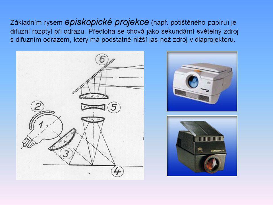 Základním rysem episkopické projekce (např. potištěného papíru) je difuzní rozptyl při odrazu. Předloha se chová jako sekundární světelný zdroj s difu