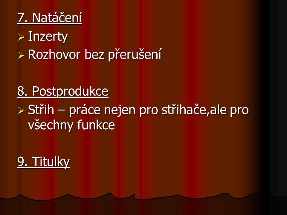 7. Natáčení  Inzerty  Rozhovor bez přerušení 8.
