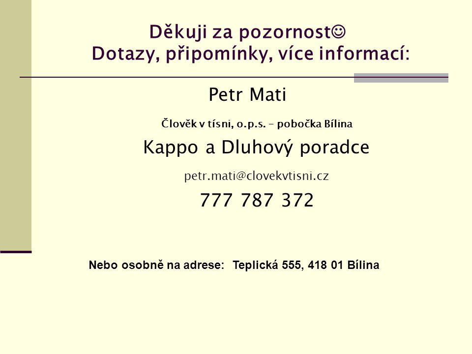 Děkuji za pozornost  Dotazy, připomínky, více informací: Petr Mati Člověk v tísni, o.p.s.