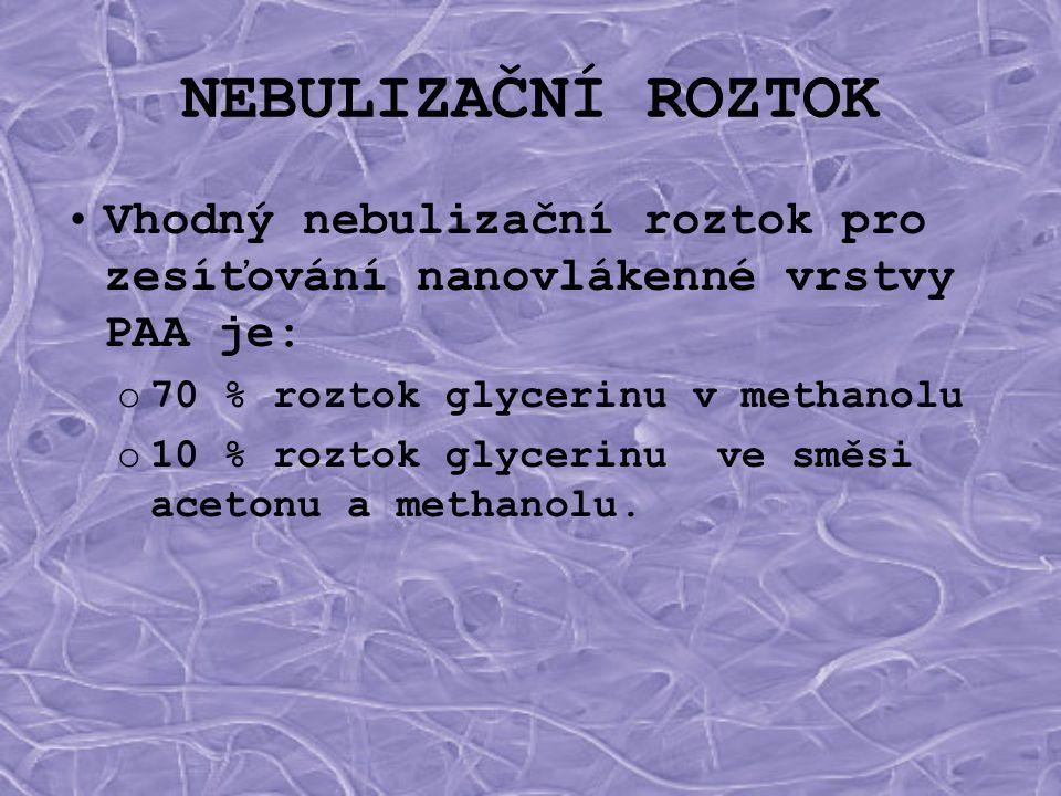 NEBULIZAČNÍ ROZTOK •Vhodný nebulizační roztok pro zesíťování nanovlákenné vrstvy PAA je: o70 % roztok glycerinu v methanolu o10 % roztok glycerinu ve