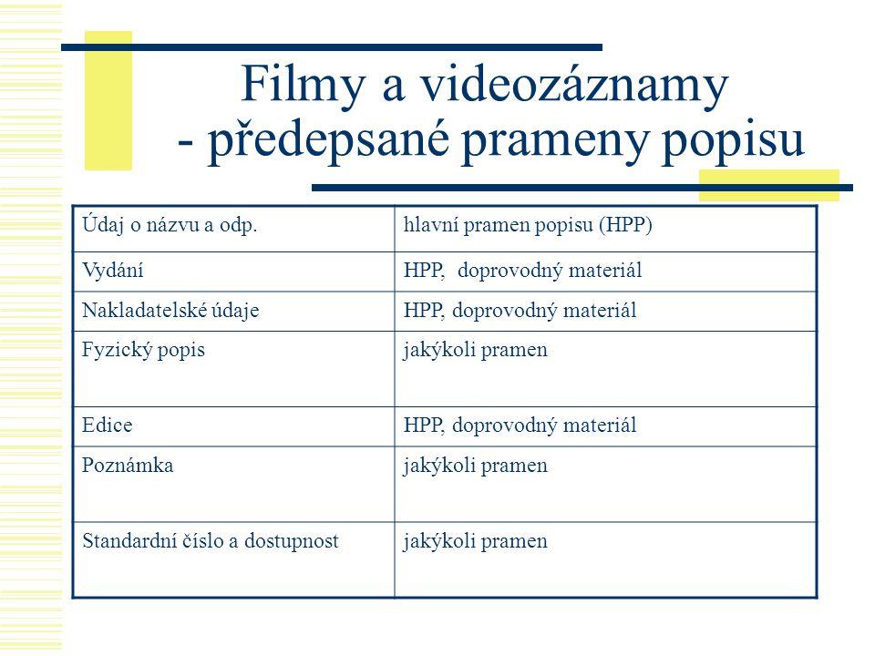 Filmy a videozáznamy - předepsané prameny popisu Údaj o názvu a odp.hlavní pramen popisu (HPP) VydáníHPP, doprovodný materiál Nakladatelské údajeHPP,