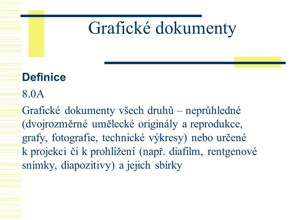 Grafické dokumenty Definice 8.0A Grafické dokumenty všech druhů – neprůhledné (dvojrozměrné umělecké originály a reprodukce, grafy, fotografie, techni