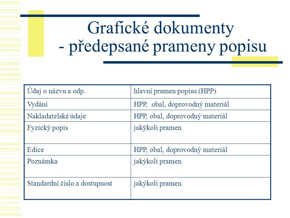 Grafické dokumenty - předepsané prameny popisu Údaj o názvu a odp.hlavní pramen popisu (HPP) VydáníHPP, obal, doprovodný materiál Nakladatelské údajeH