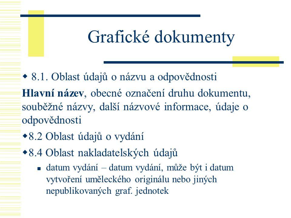 Grafické dokumenty  8.1. Oblast údajů o názvu a odpovědnosti Hlavní název, obecné označení druhu dokumentu, souběžné názvy, další názvové informace,