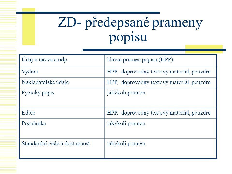 ZD- předepsané prameny popisu Údaj o názvu a odp.hlavní pramen popisu (HPP) VydáníHPP, doprovodný textový materiál, pouzdro Nakladatelské údajeHPP, do