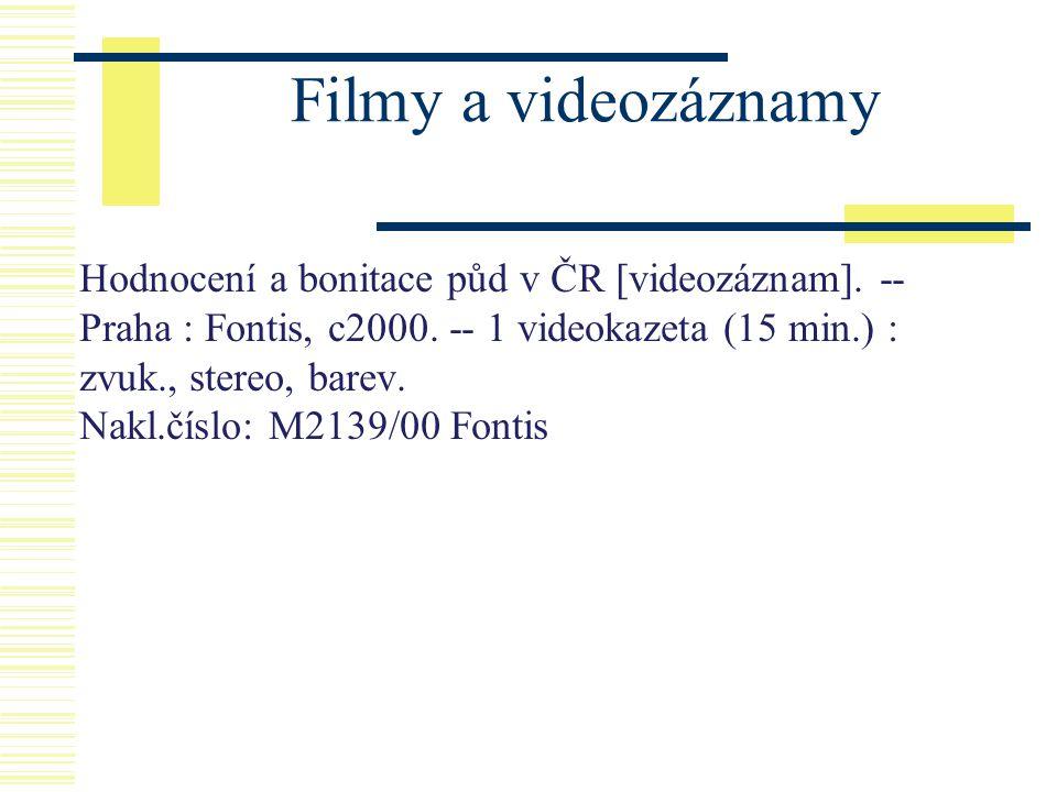 Filmy a videozáznamy Hodnocení a bonitace půd v ČR [videozáznam]. -- Praha : Fontis, c2000. -- 1 videokazeta (15 min.) : zvuk., stereo, barev. Nakl.čí