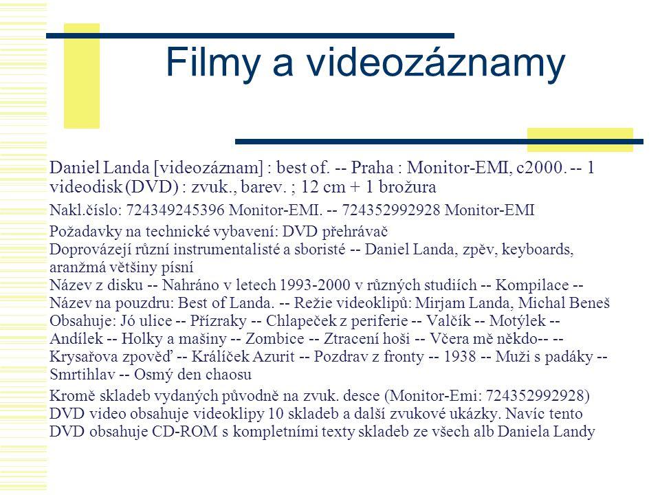 Filmy a videozáznamy Daniel Landa [videozáznam] : best of. -- Praha : Monitor-EMI, c2000. -- 1 videodisk (DVD) : zvuk., barev. ; 12 cm + 1 brožura Nak