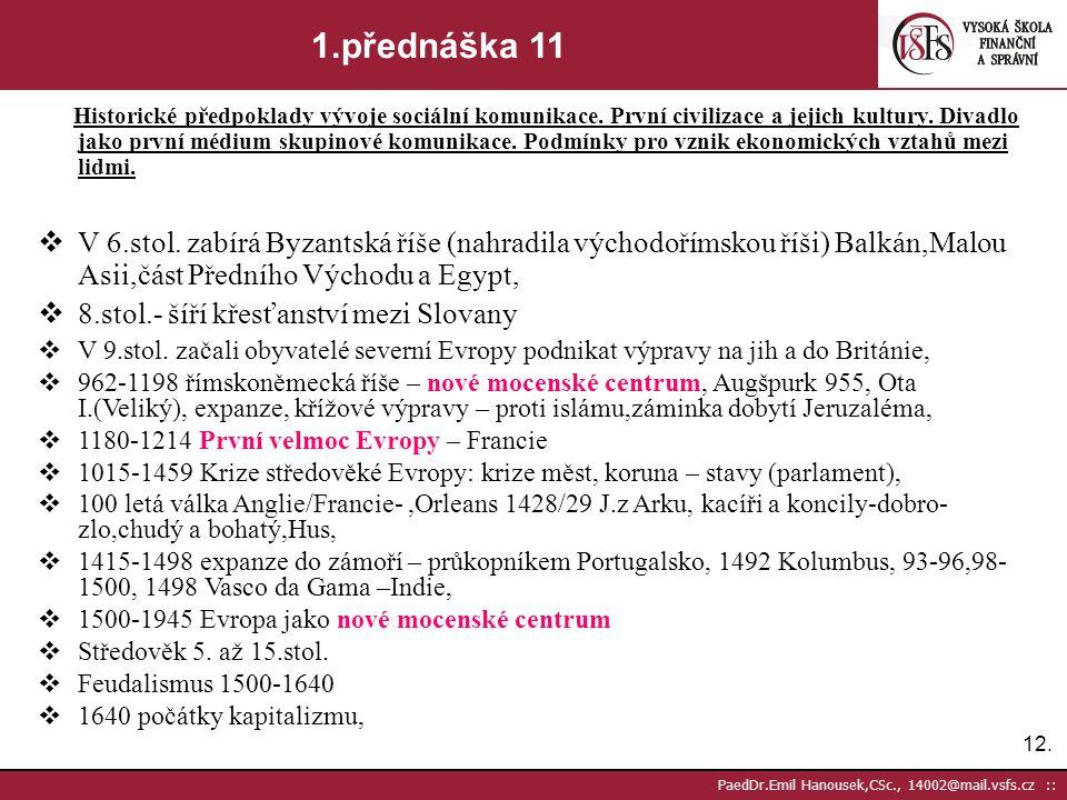 11. PaedDr.Emil Hanousek,CSc., 14002@mail.vsfs.cz :: 1.přednáška 10 Historické předpoklady vývoje sociální komunikace. První civilizace a jejich kultu