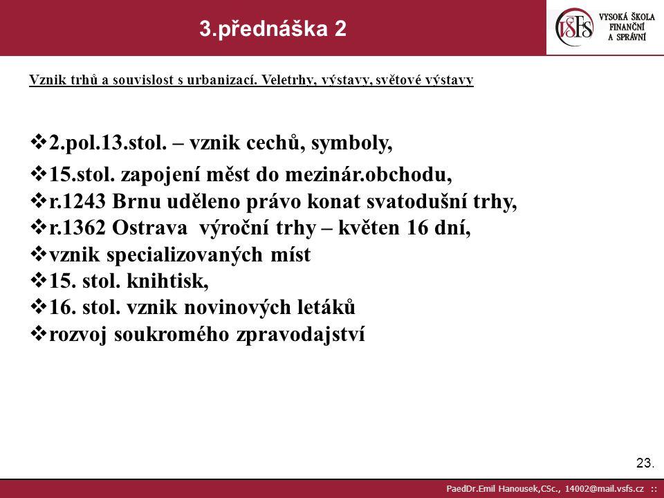 22. PaedDr.Emil Hanousek,CSc., 14002@mail.vsfs.cz :: 3.přednáška 1 Vznik trhů a souvislost s urbanizací. Veletrhy, výstavy, světové výstavy Vznik hrad