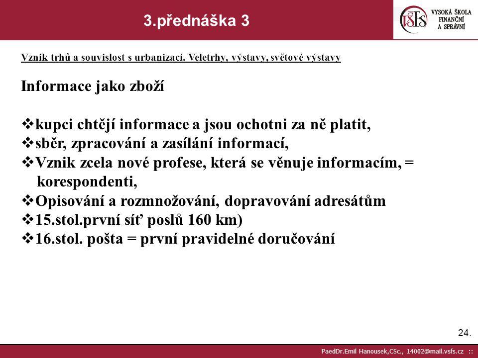 23. PaedDr.Emil Hanousek,CSc., 14002@mail.vsfs.cz :: 3.přednáška 2 Vznik trhů a souvislost s urbanizací. Veletrhy, výstavy, světové výstavy  2.pol.13