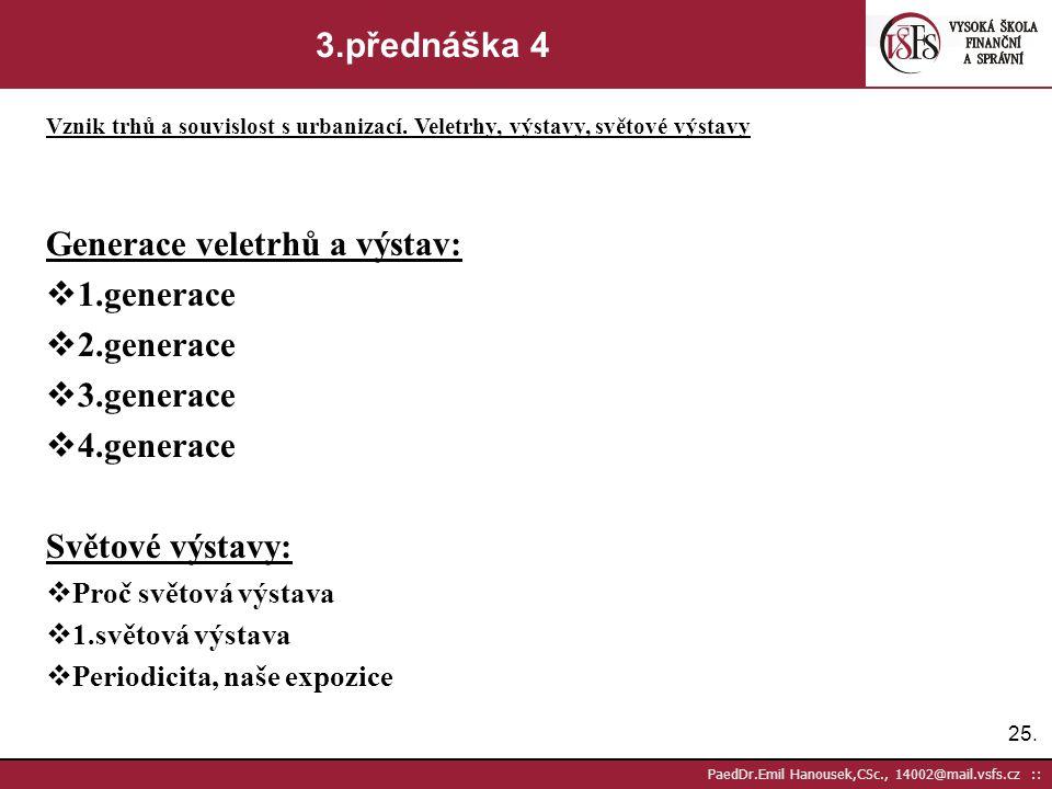 24. PaedDr.Emil Hanousek,CSc., 14002@mail.vsfs.cz :: 3.přednáška 3 Vznik trhů a souvislost s urbanizací. Veletrhy, výstavy, světové výstavy Informace