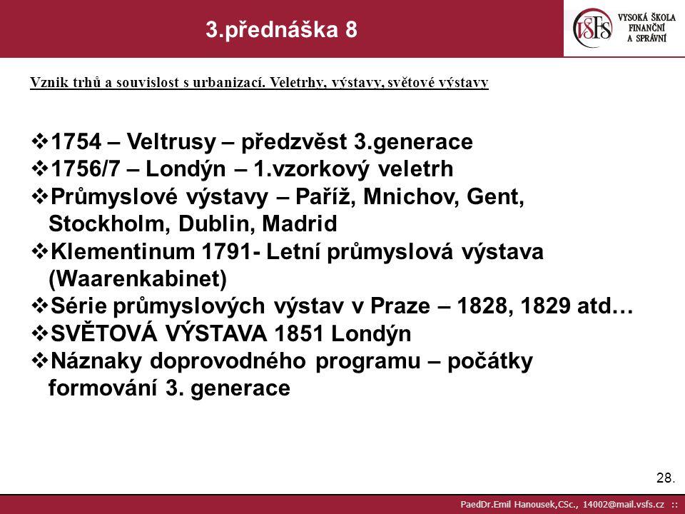 27. PaedDr.Emil Hanousek,CSc., 14002@mail.vsfs.cz :: 3.přednáška 7 Vznik trhů a souvislost s urbanizací. Veletrhy, výstavy, světové výstavy 2.GENERACE