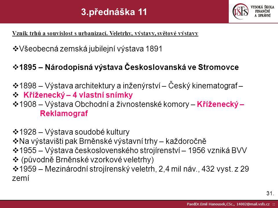 30. PaedDr.Emil Hanousek,CSc., 14002@mail.vsfs.cz :: 3.přednáška 10 Vznik trhů a souvislost s urbanizací. Veletrhy, výstavy, světové výstavy  Prudká