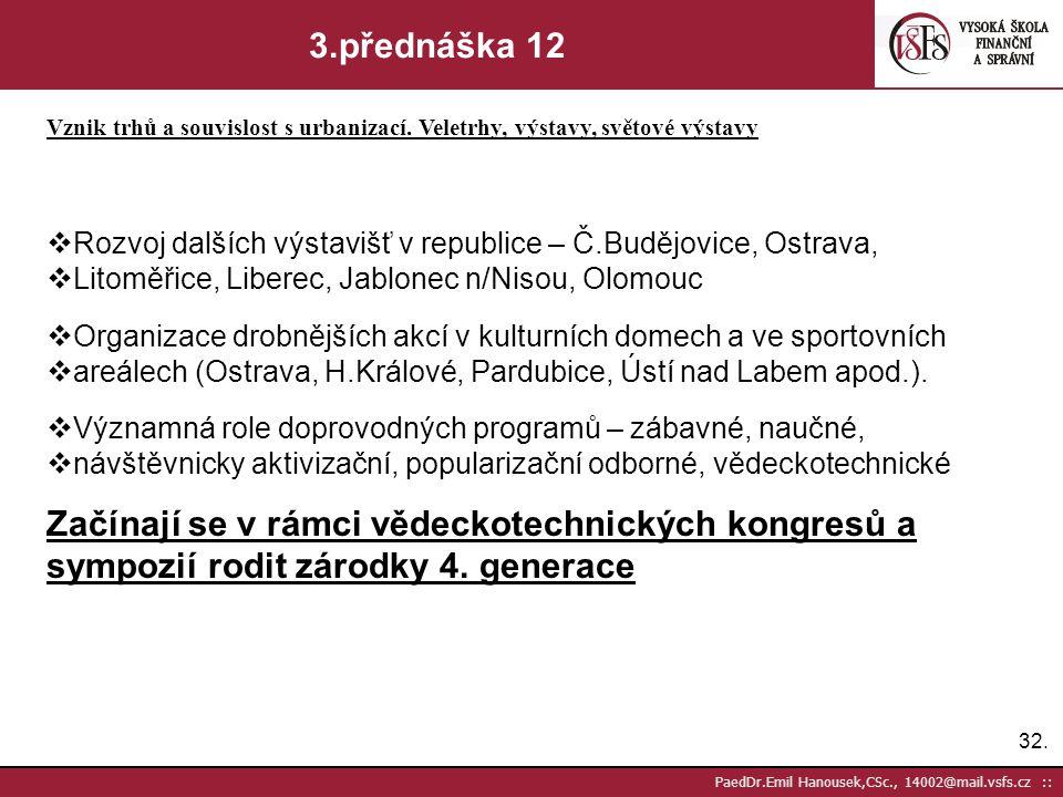 31. PaedDr.Emil Hanousek,CSc., 14002@mail.vsfs.cz :: 3.přednáška 11 Vznik trhů a souvislost s urbanizací. Veletrhy, výstavy, světové výstavy  Všeobec