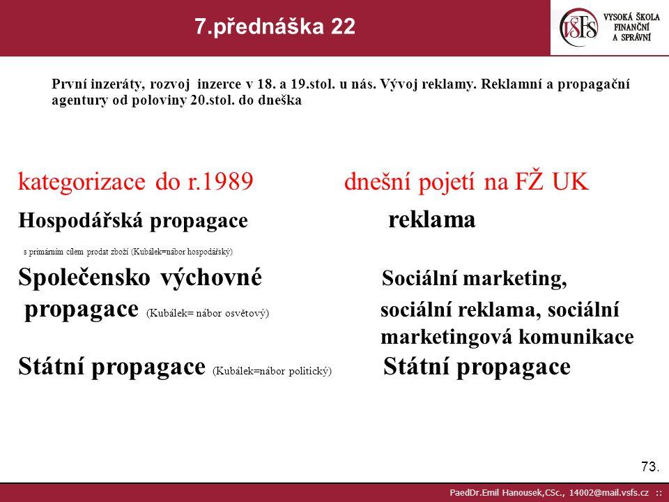 72. PaedDr.Emil Hanousek,CSc., 14002@mail.vsfs.cz :: 7.přednáška 21 První inzeráty, rozvoj inzerce v 18. a 19.stol. u nás. Vývoj reklamy. Reklamní a p