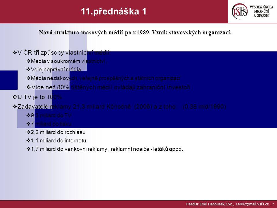 PaedDr.Emil Hanousek,CSc., 14002@mail.vsfs.cz :: 10.přednáška 2 Nové formy komunikace.  internetový direkt mail  Rozesílání elektronických magazínů