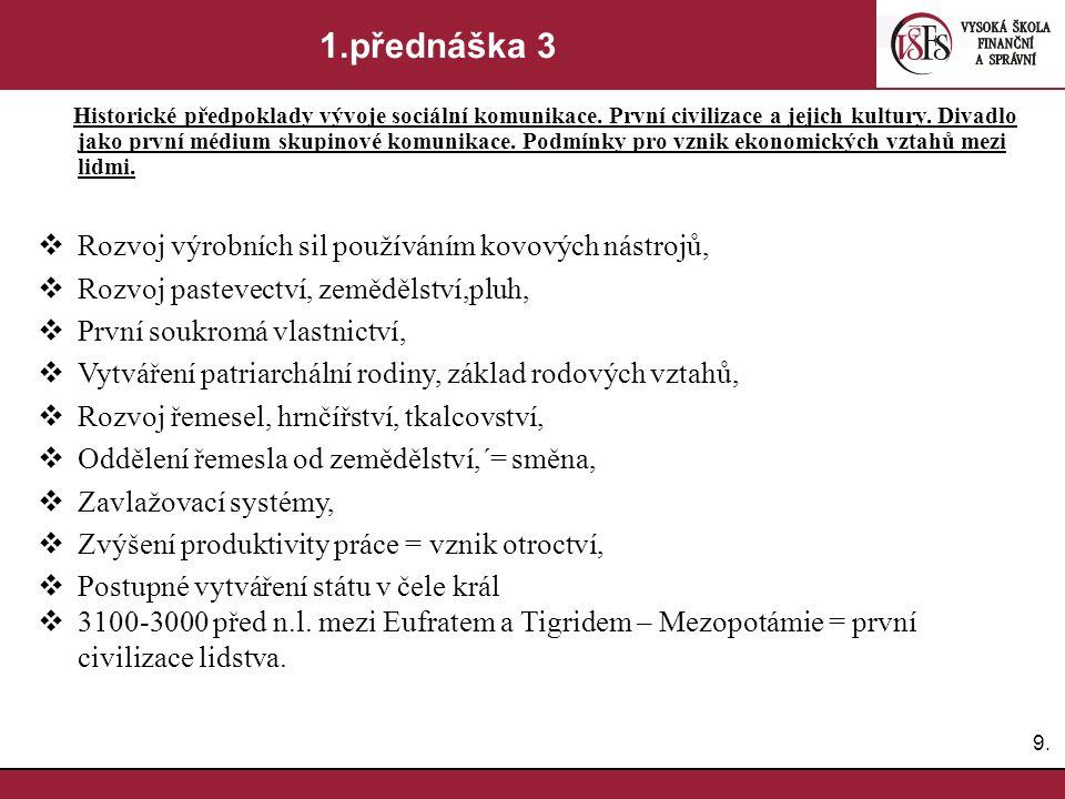 9.9.1.přednáška 3 Historické předpoklady vývoje sociální komunikace.