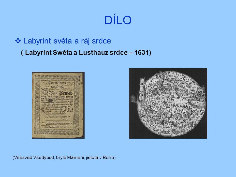 DÍLO  Labyrint světa a ráj srdce ( Labyrint Swěta a Lusthauz srdce – 1631) (Všezvěd Všudybud, brýle Mámení, jistota v Bohu)