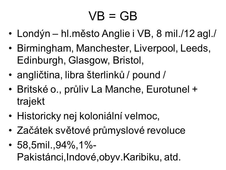 VB = GB •Londýn – hl.město Anglie i VB, 8 mil./12 agl./ •Birmingham, Manchester, Liverpool, Leeds, Edinburgh, Glasgow, Bristol, •angličtina, libra šte