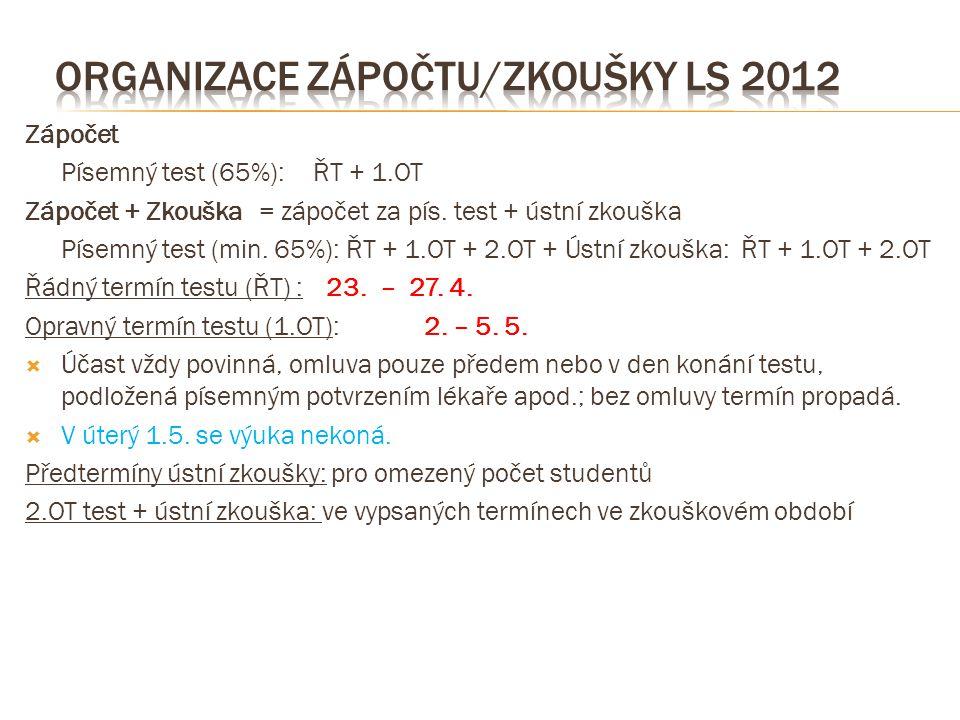 Zápočet Písemný test (65%):ŘT + 1.OT Zápočet + Zkouška = zápočet za pís. test + ústní zkouška Písemný test (min. 65%): ŘT + 1.OT + 2.OT + Ústní zkoušk