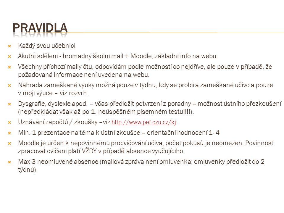  Každý svou učebnici  Akutní sdělení - hromadný školní mail + Moodle; základní info na webu.  Všechny příchozí maily čtu, odpovídám podle možností